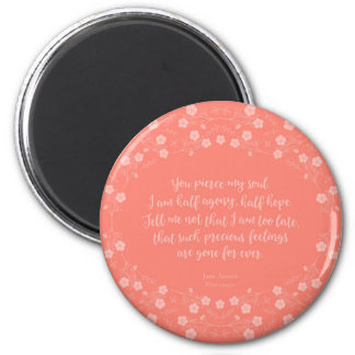 Floral Love Letter Quote Persuasion Jane Austen Magnet