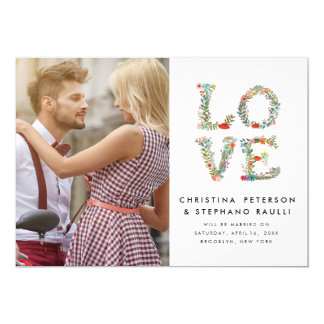 Floral LOVE Modern Photo Save the Date 5x7 Paper Invitation Card