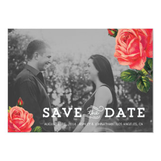 Floral Love Photo Save The Date Invites