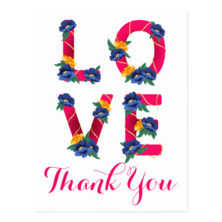 Floral Love Pink Thank You Blue & Yellow Flowers Postcard