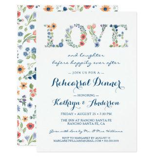 Floral Love Wedding Rehearsal Dinner Invitation