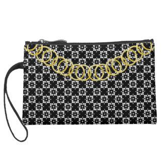 Floral Luxury Sueded Black & White Baguette Suede Wristlet Wallet