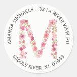 Floral M Initial Monogram Return Address Sticker