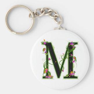 Floral M Basic Round Button Keychain
