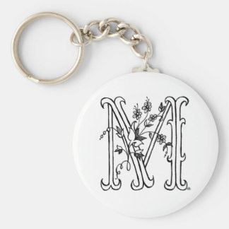 Floral M Keychain