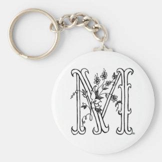 Floral M Keychain