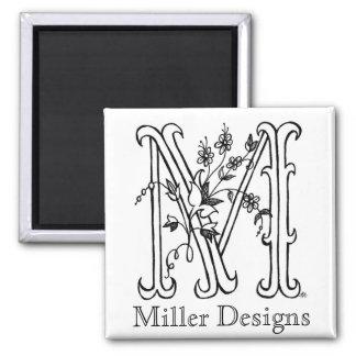 Floral M: Miller Designs Magnet