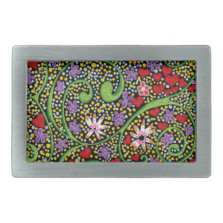 floral magic of love and creation in black rectangular belt buckle