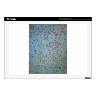 """floral magic of love and creation sketch 17"""" laptop decal"""