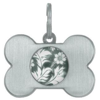 Floral magnífico, plata placas de mascota