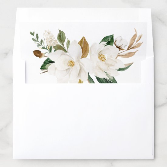 Floral Magnolia Neutral Beige Watercolor Elegant Envelope Liner