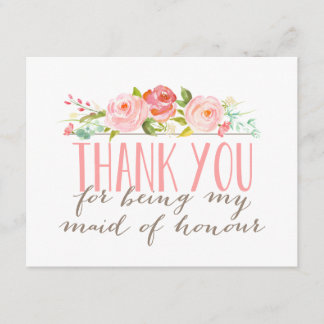 Floral Maid Of Honour Thank You