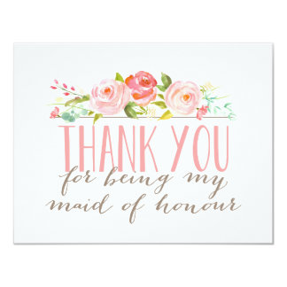 Floral Maid Of Honour Thank You Card