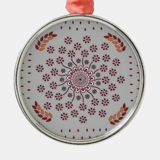 Floral Mandala 3 Metal Ornament