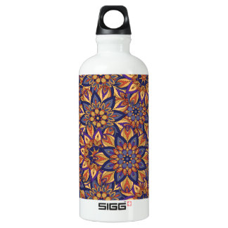 Floral mandala abstract pattern design aluminum water bottle