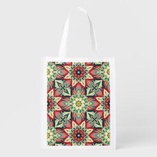 Floral mandala abstract pattern design reusable grocery bag