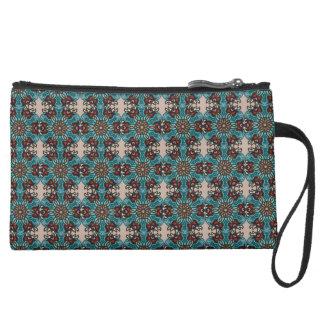 Floral mandala abstract pattern design suede wristlet wallet