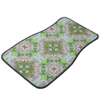 Floral mandala bling emerald green rhinestone car floor mat