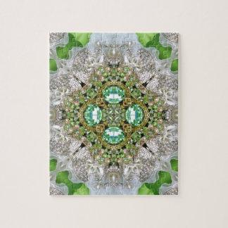 Floral mandala bling emerald green rhinestone jigsaw puzzle