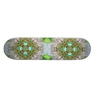 Floral mandala bling emerald green rhinestone skateboard