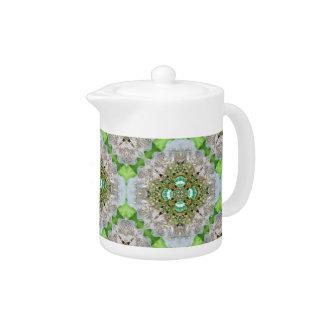 Floral mandala bling emerald green rhinestone teapot