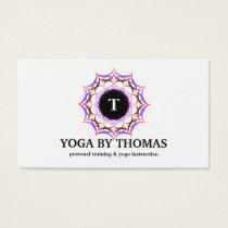 Floral Mandala Logo Monogram Yoga Instructor Business Card
