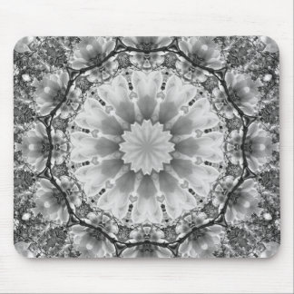 Floral mandala-style, Blossoms black, white, gray Mouse Pad