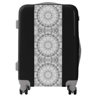 Floral mandala-style, blossoms light gray / grey luggage