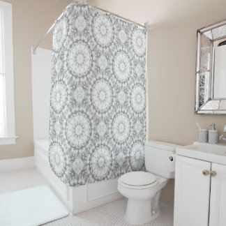 light gray shower curtain. Floral mandala style  blossoms light gray grey shower curtain Light Gray Shower Curtains Zazzle
