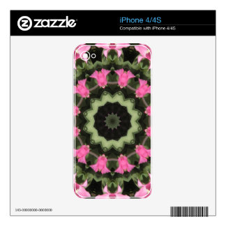 Floral mandala-style, pink blossoms skins for iPhone 4S
