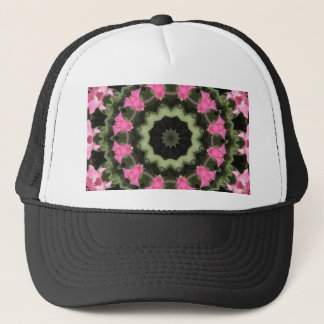 Floral mandala-style, pink blossoms trucker hat