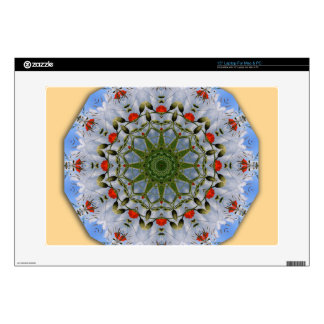 """Floral mandala-style, Red Poppies 15"""" Laptop Decal"""