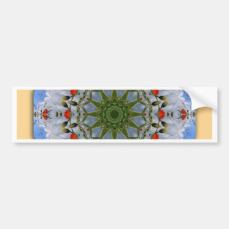 Floral mandala-style, Red Poppies Bumper Sticker