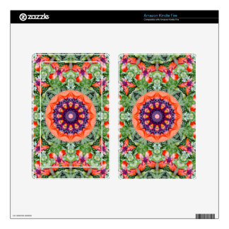 Floral mandala-style, Red Poppies Kindle Fire Decal