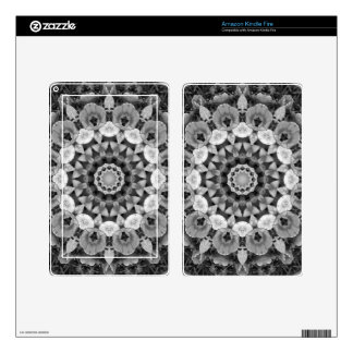 Floral mandala-style, Tulips Black, white and gray Decal For Kindle Fire