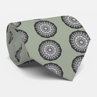 Floral mandala-style, Tulips Black, white and gray Neck Tie