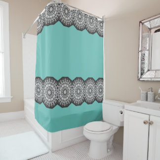 teal and gray shower curtain. floral mandala-style, tulips black, white and gray shower curtain teal