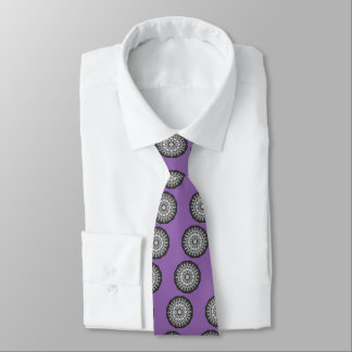 Floral mandala-style, Tulips Black, white and gray Tie