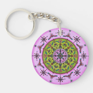 Floral Mandala & Your name double sided keychain