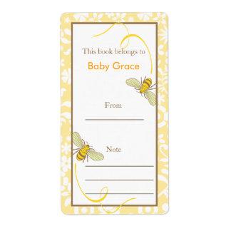 Floral manosee el Bookplate de la abeja Etiquetas De Envío