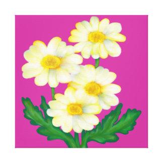 floral, margarita, corrija el color de fondo impresión en lona estirada