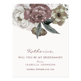 Floral Maroon Bouquet | Will You Be My Bridesmaid? Postcard