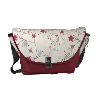 Floral Maroon Patterns Rickshaw Messenger Bag