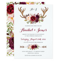 Floral Marsala Antler Boho Wedding Invitation