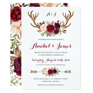 Boho Floral 5x7 Wedding Invitations Zazzle
