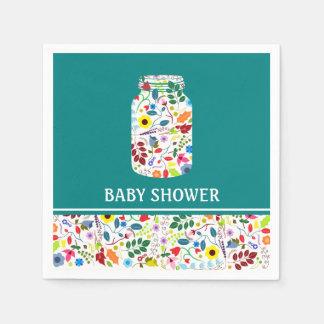 Floral Mason Jar Baby Shower Napkin