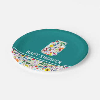 Floral Mason Jar Baby Shower Paper Plate