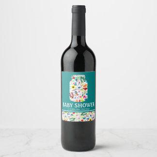 Floral Mason Jar Baby Shower Wine Label