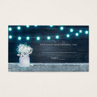 Floral Mason Jar & Blue Lights Rustic Table Place Business Card