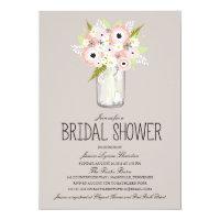 Floral Mason Jar Bridal Shower Card